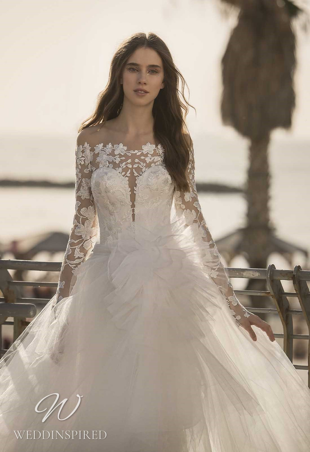 A Pnina Tornai 2021 off the shoulder lace and tulle A-line wedding dress