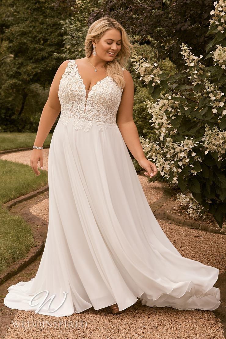 A Sophia Tolli 2021 plus size lace and chiffon A-line wedding dress