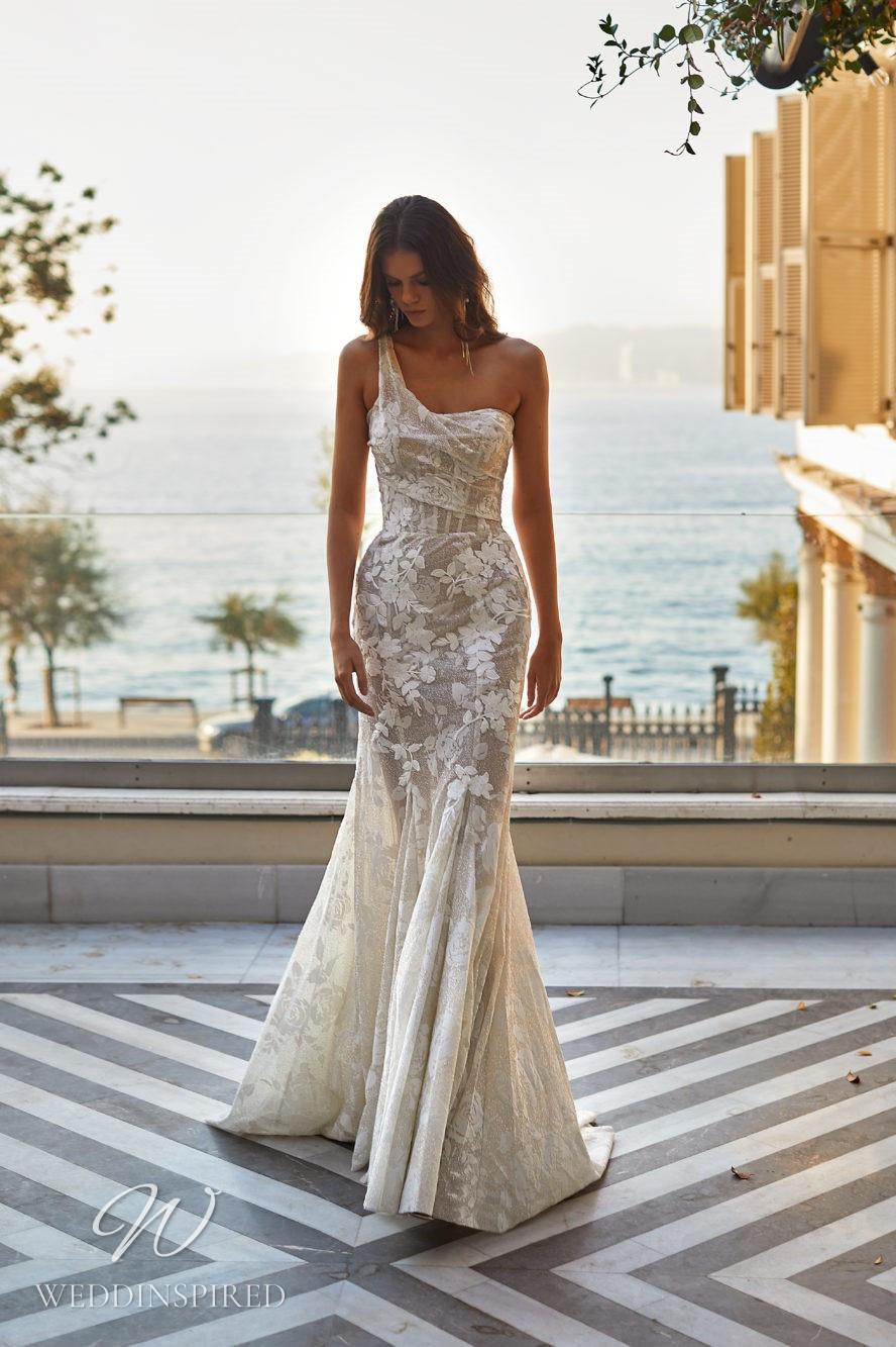 A Milla Nova 2021 one shoulder sparkly floral mesh mermaid wedding dress