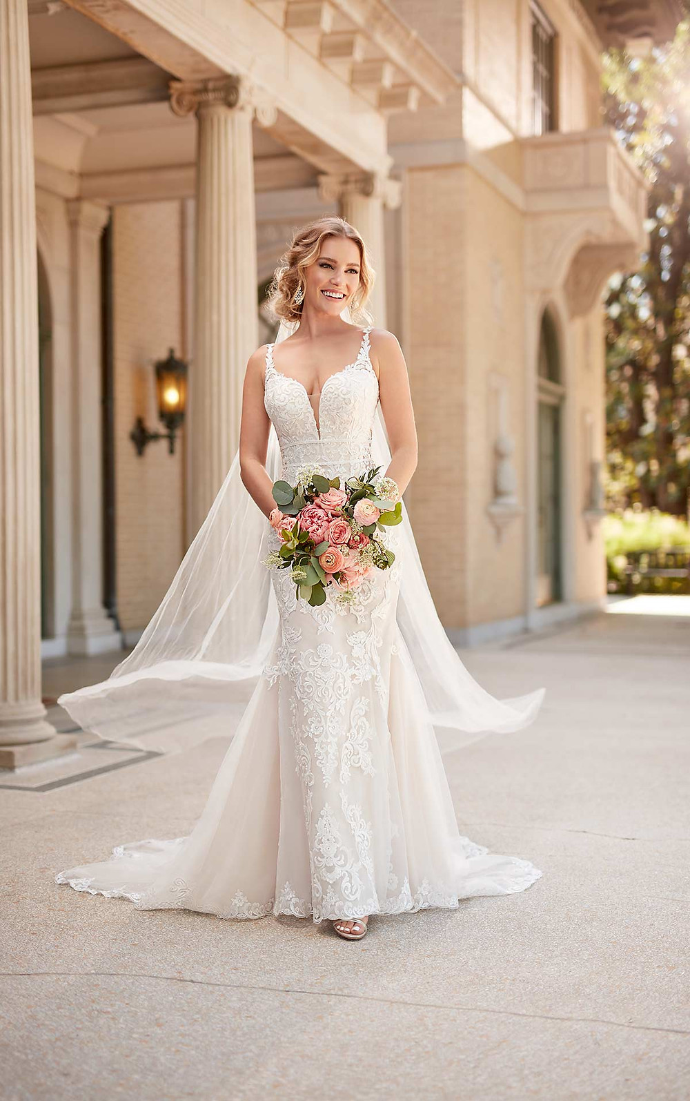 A Stella York 2020 lace mermaid fit and flare wedding dress with straps