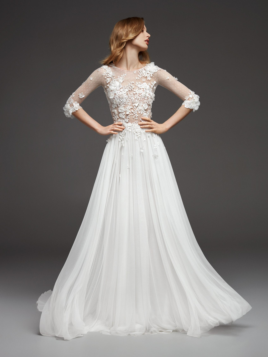 A Pronovias 3/4 sleeve, A-line chiffon wedding dress, with lace and illusion sleeves