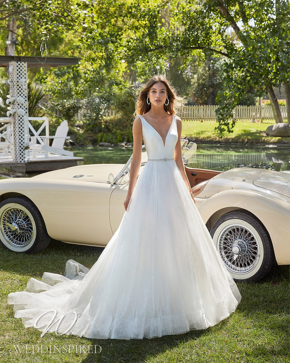An Aire Barcelona 2021 simple satin and tulle A-line wedding dress