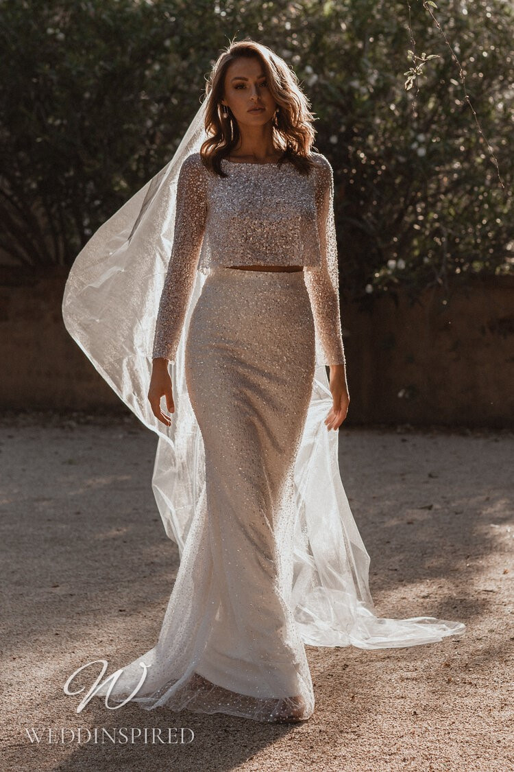 An Anna Campbell 2021 blush sparkly two piece mermaid wedding dress with long sleeves