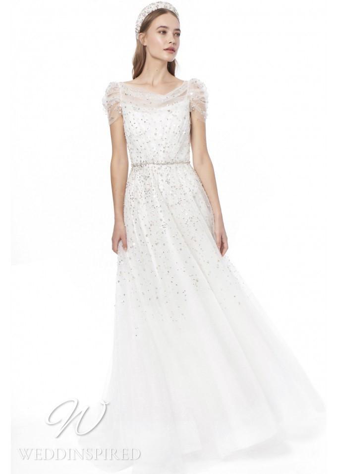 A Jenny Packham 2021 sparkly tulle off the shoulder A-line wedding dress