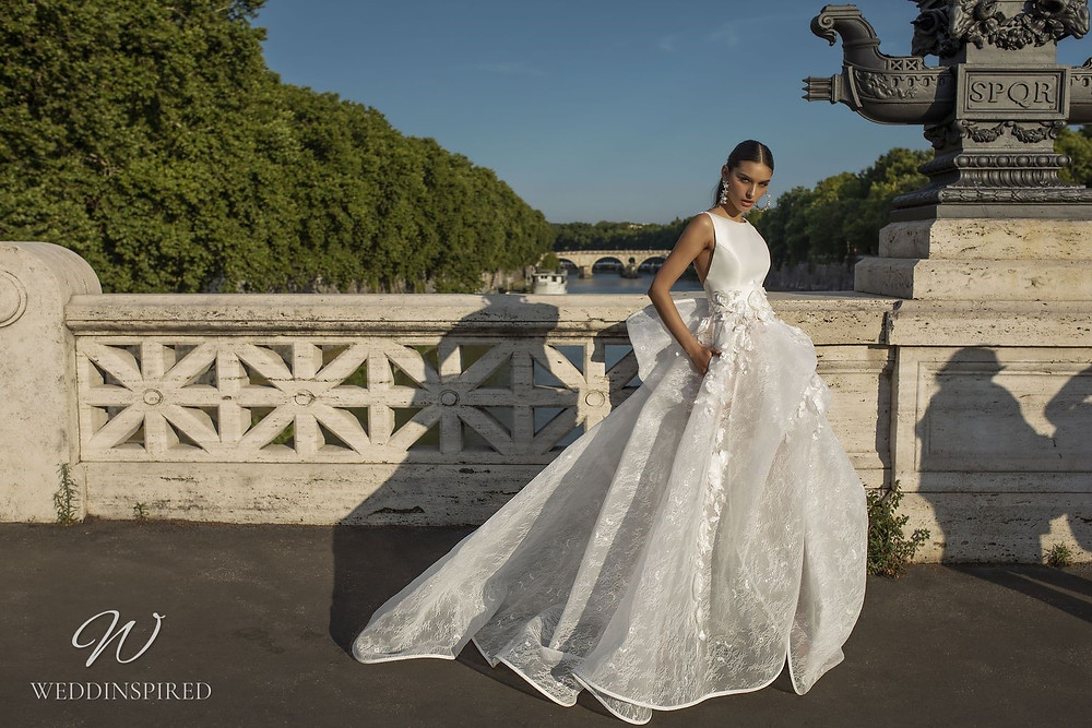 A Pinella Passaro silk and tulle ball gown wedding dress with pockets