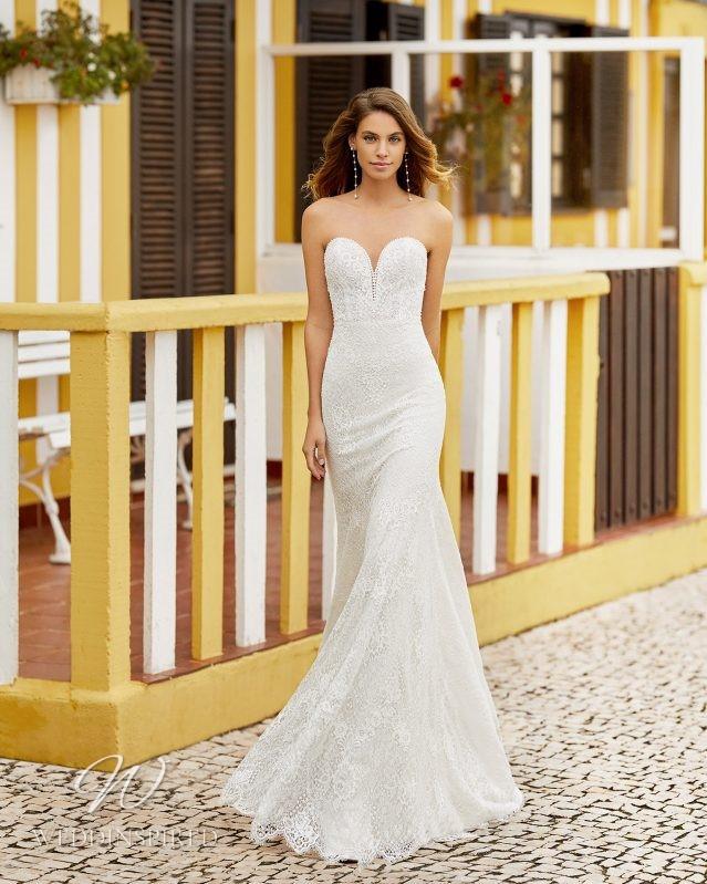 A Rosa Clara 2021 lace strapless mermaid wedding dress