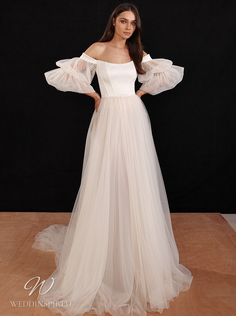 A Galia Lahav 2022 off the shoulder bohemian tulle A-line wedding dress