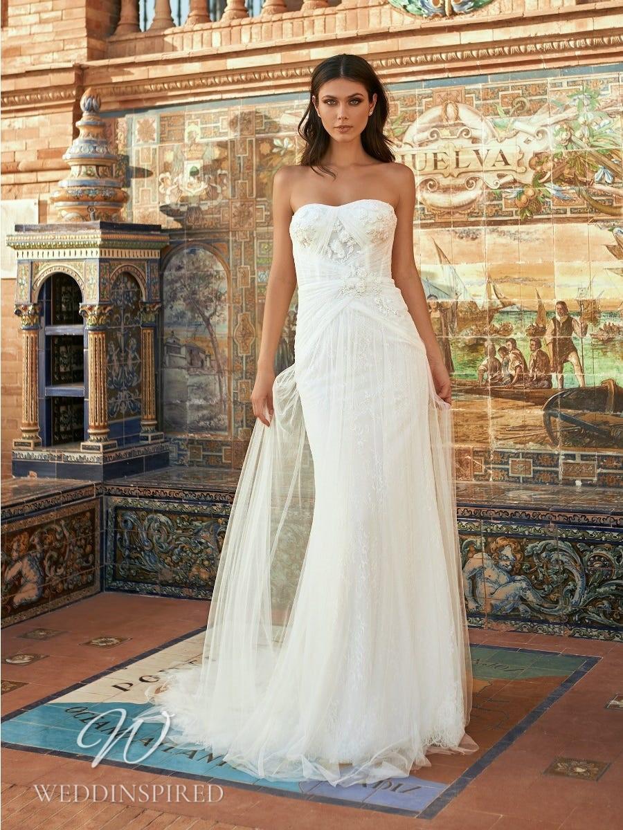 A Marchesa for Pronovias 2022 strapless tulle sheath wedding dress