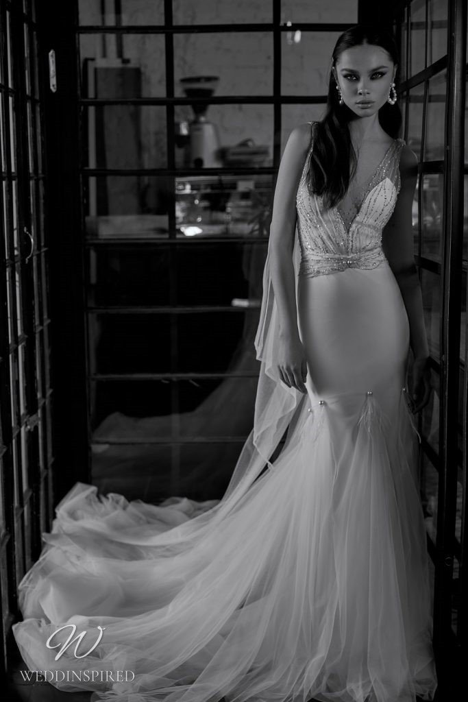 A Julie Vino 2021 silk and tulle mermaid wedding dress with sparkles
