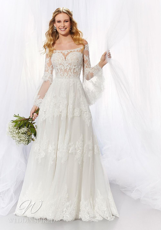 A Madeline Gardner lace off the shoulder A-line wedding dress