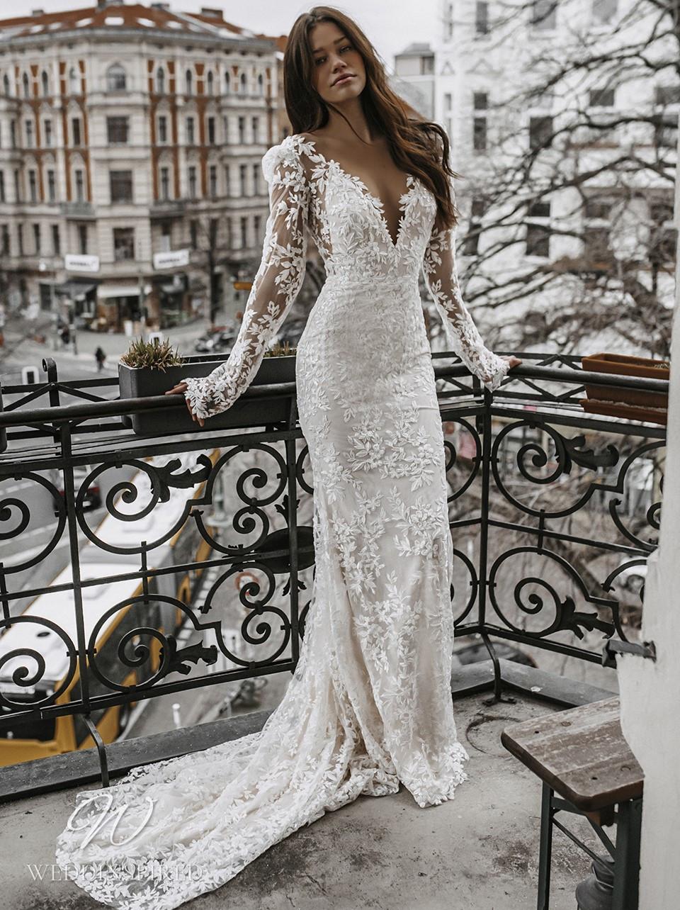 A Galia Lahav 2022 romantic lace mermaid wedding dress with long sleeves