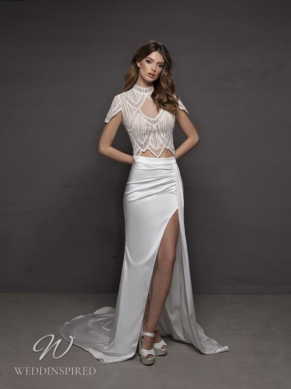 A Riki Dalal 2021 two piece sexy satin mermaid wedding dress
