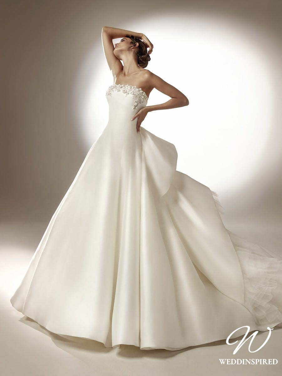 An Atelier Pronovias strapless princess silk ball gown wedding dress with crystals