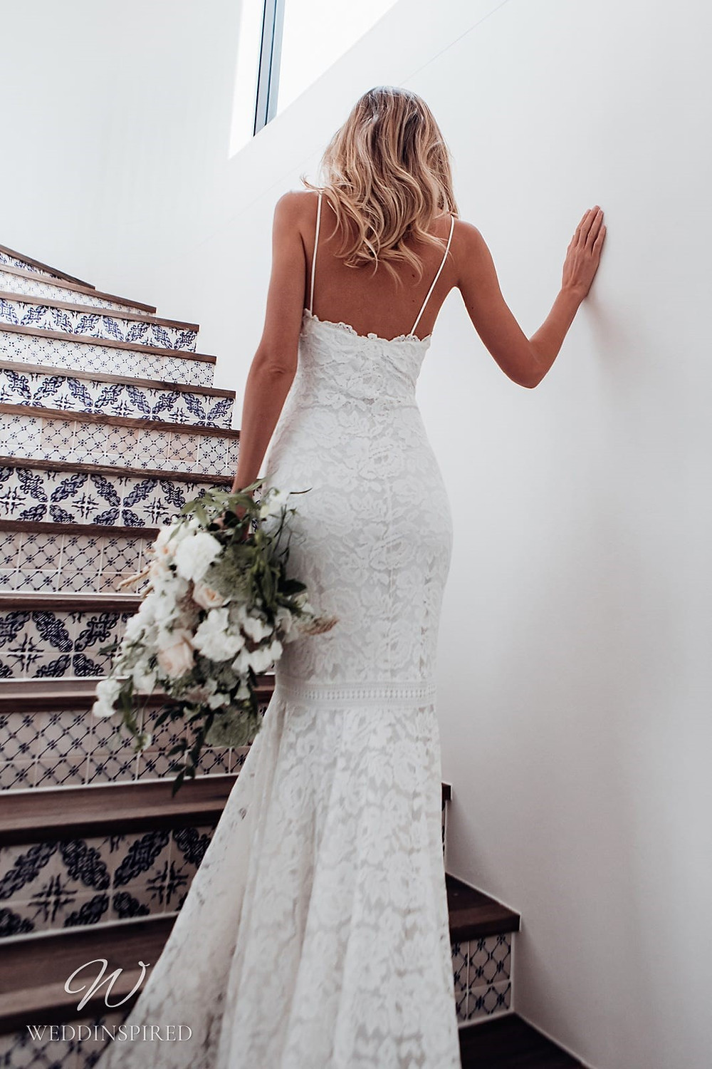 A Grace Loves Lace mermaid lace wedding dress with thin spaghetti straps