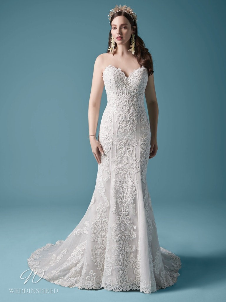 A Maggie Sottero 2021 strapless lace mermaid wedding dress