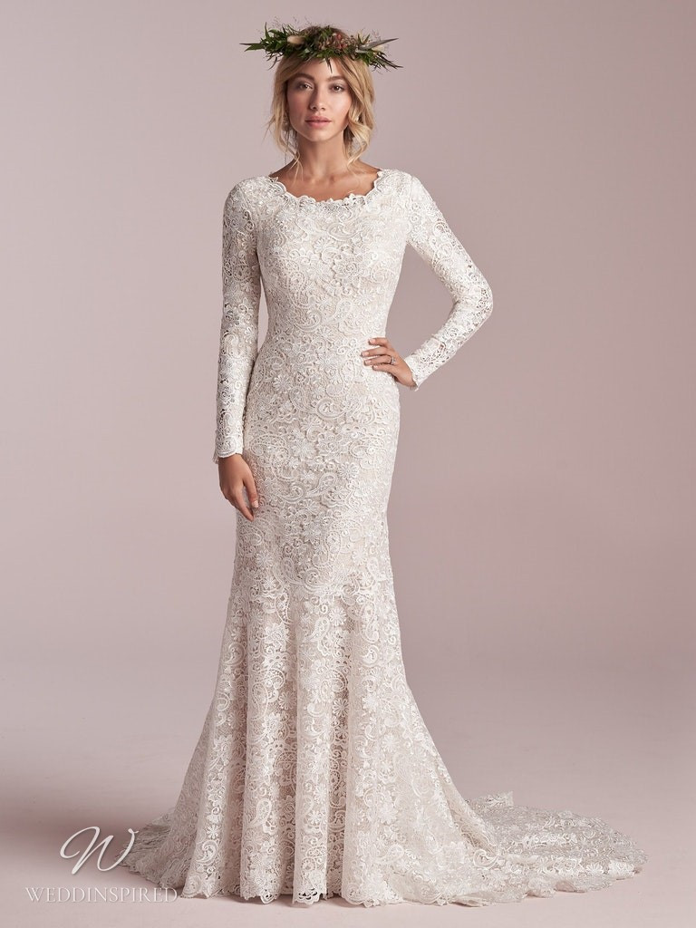 A Rebecca Ingram 2020 modest lace mermaid wedding dress with long sleeves