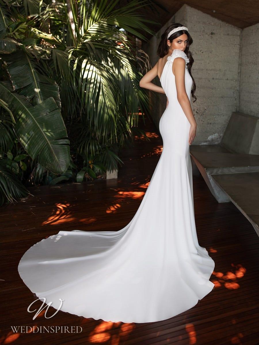 A Pronovias 2021 crepe one shoulder mermaid wedding dress