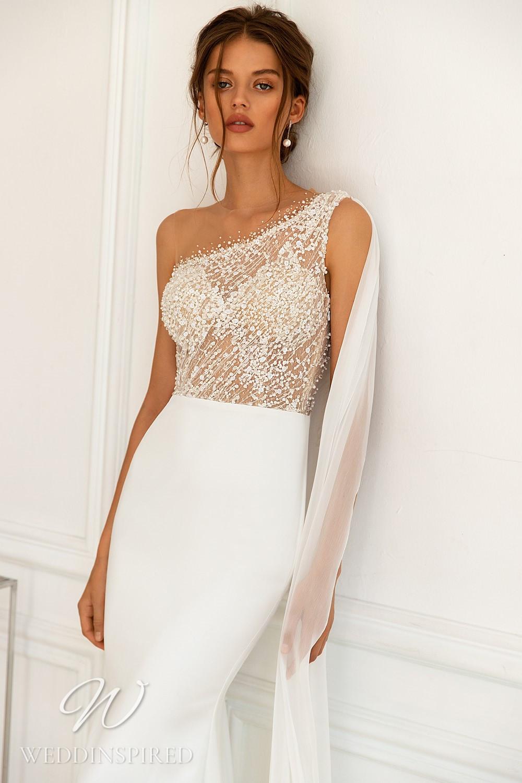 A WONÁ Concept 2021 one shoulder satin mermaid wedding dress