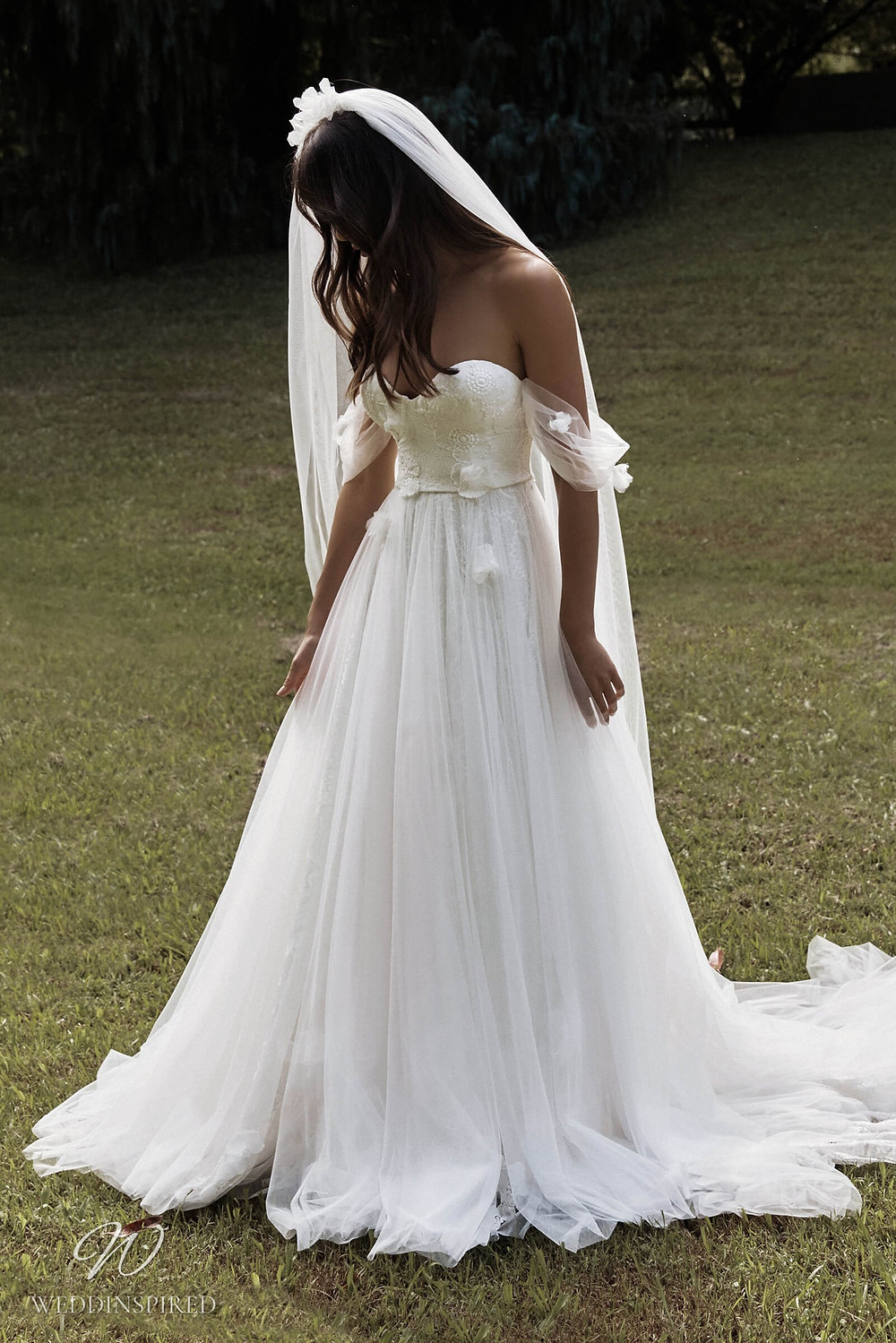 A Grace Loves Lace 2021 flowy off the shoulder lace and tulle A-line wedding dress