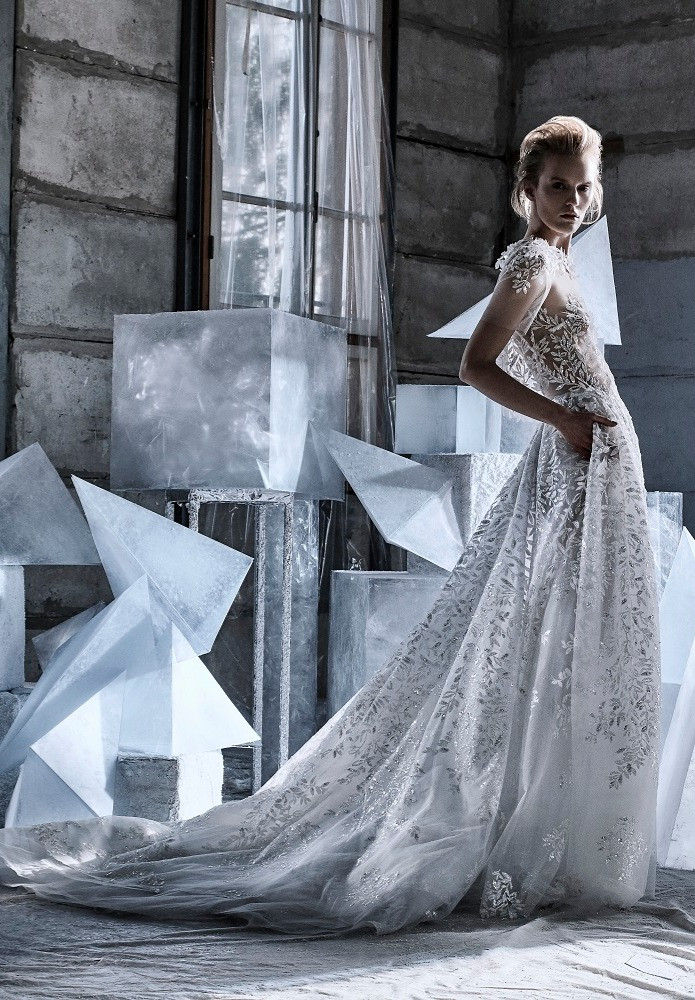A Mira Zwillinger silver mesh A-line wedding dress with pockets