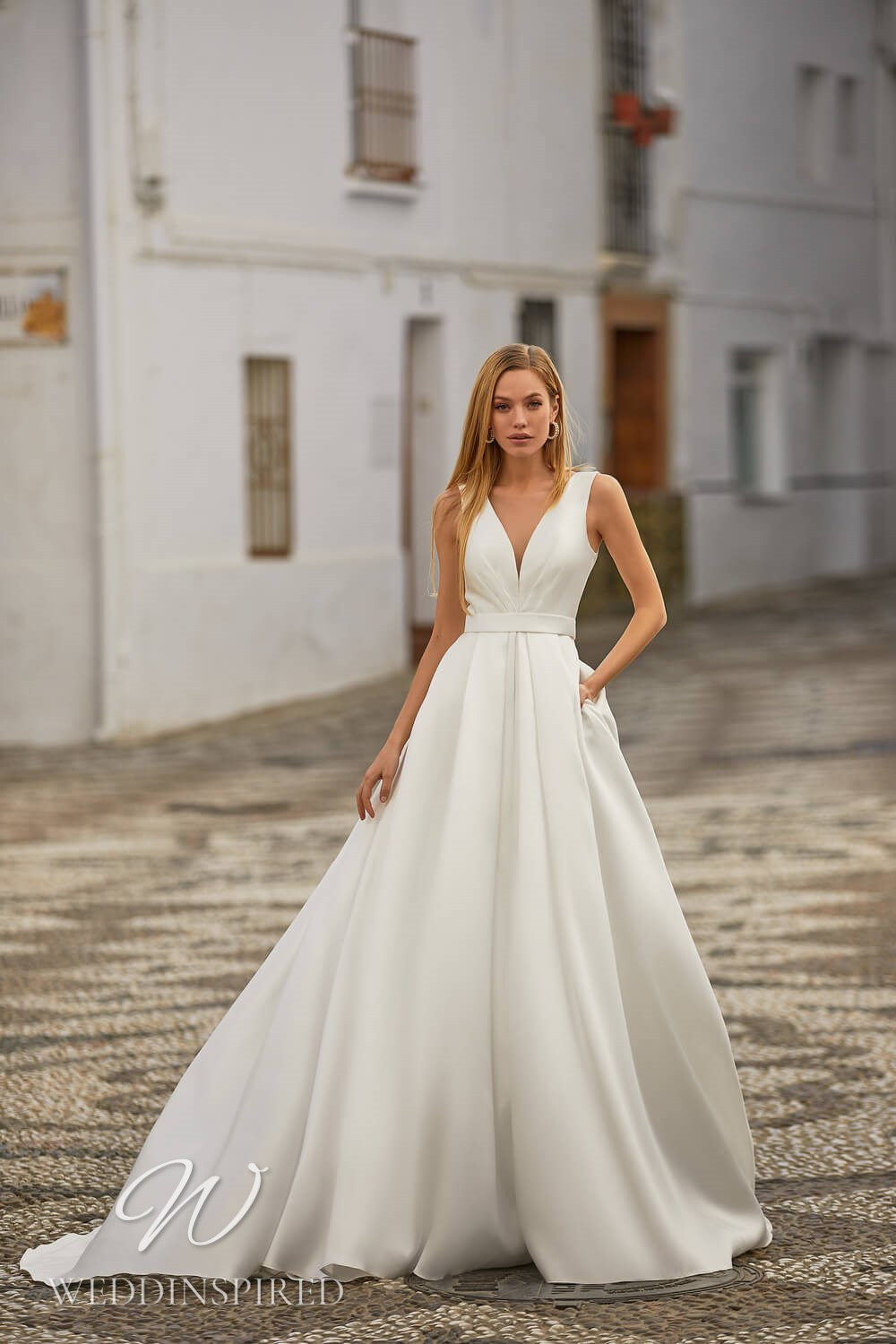An Essential by Lussano 2021 simple satin A-line wedding dress with a v neck