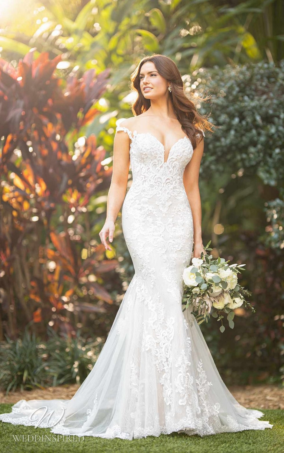 An Essense of Australia off the shoulder lace and tulle mermaid wedding dress