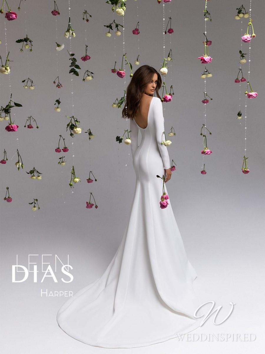 A Leen Dias 2021 backless simple satin mermaid wedding dress with long sleeves