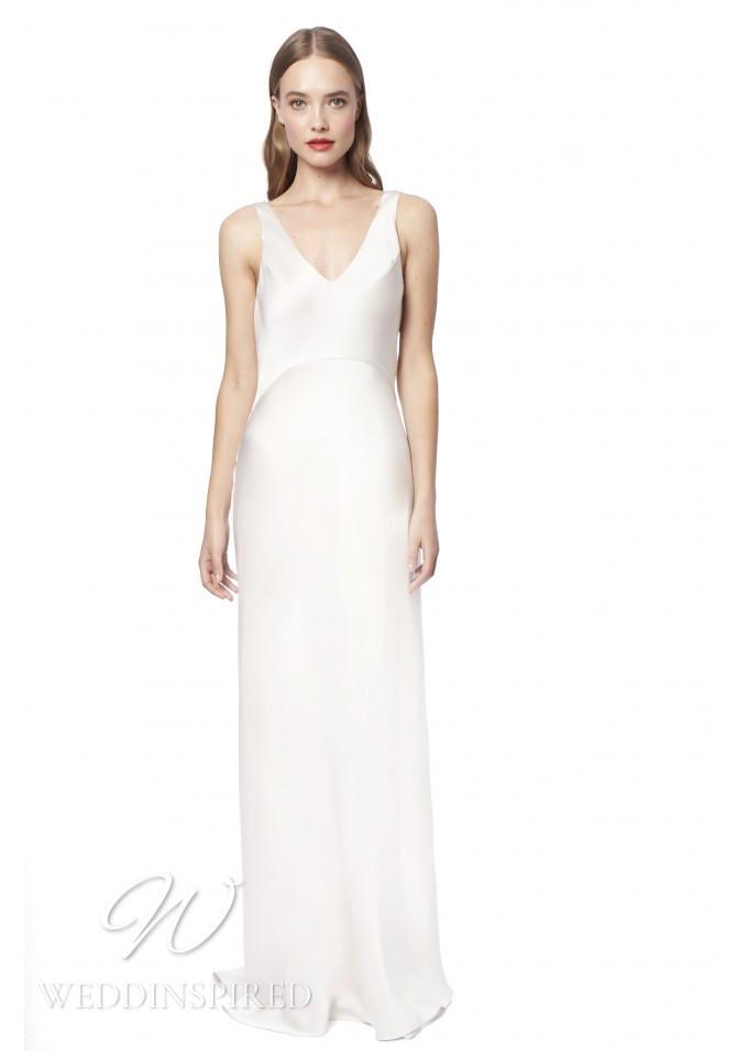 A Jenny Packham 2021 simple satin sheath wedding dress