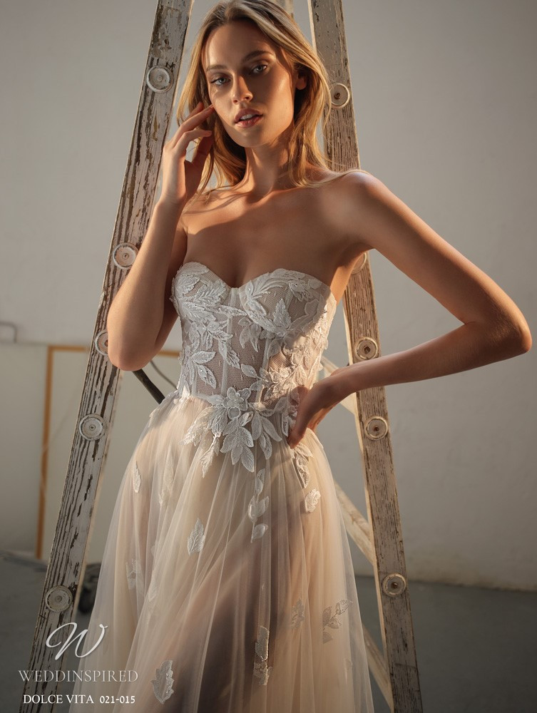 A Gali Karten 2021 nude lace and tulle strapless A-line wedding dress