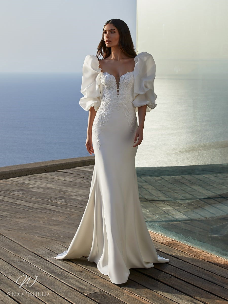 A Pronovias 2021 lace and silk column wedding dress with big puff baloon sleeves