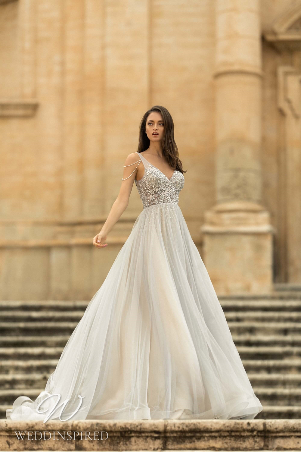 A Lussano 2021 silver tulle A-line wedding dress