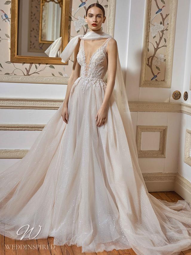 A Galia Lahav 2021 flowy ivory v neck A-line wedding dress with lace