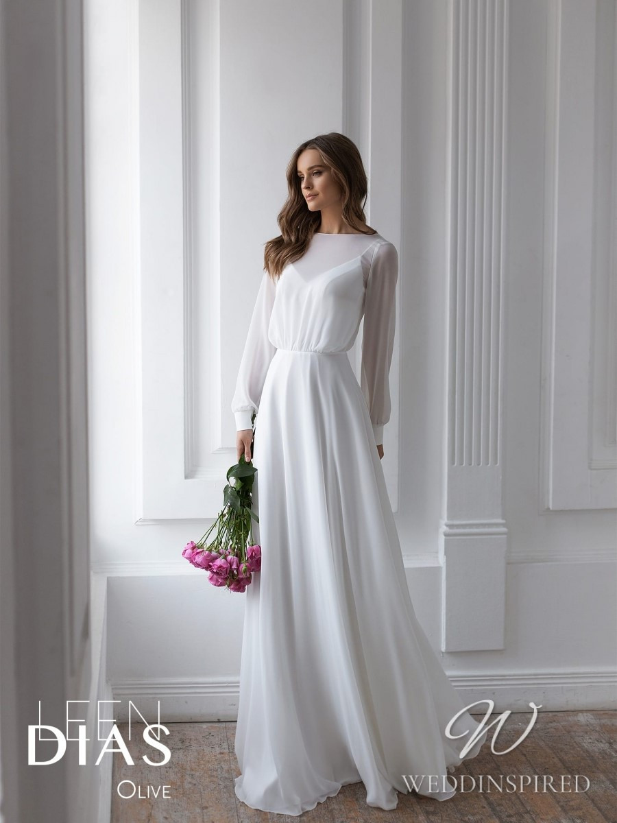 A Leen Dias 2021 simple modest chiffon sheath wedding dress with long sleeves