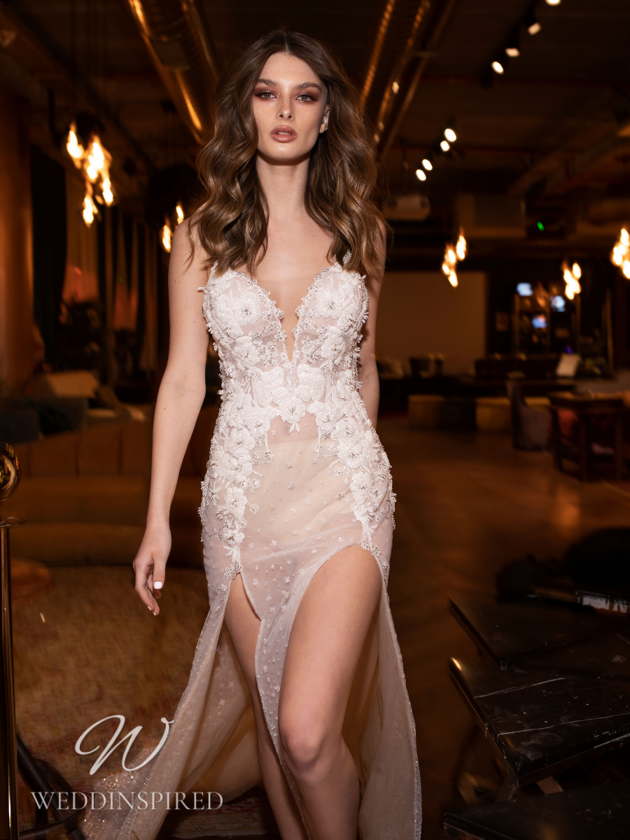 A Riki Dalal 2021 sexy lace mermaid wedding dress with a slit