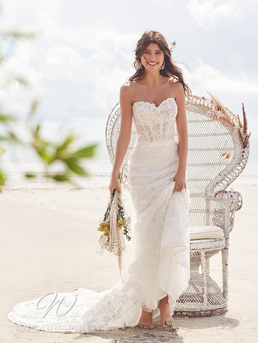 A Rebecca Ingram 2021 strapless lace mermaid wedding dress