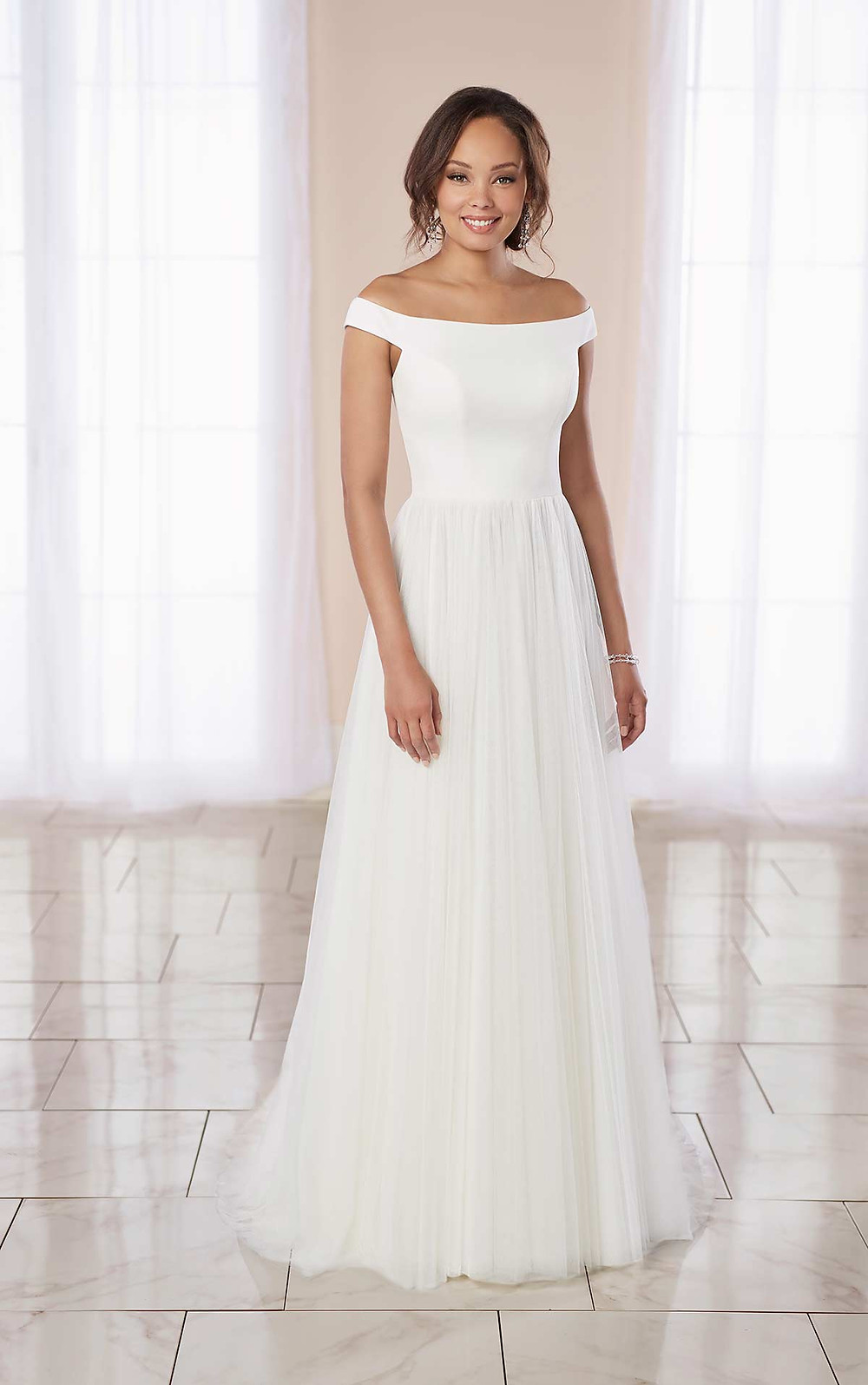 A Stella York 2020 simple crepe and tulle off the shoulder A-line wedding dress