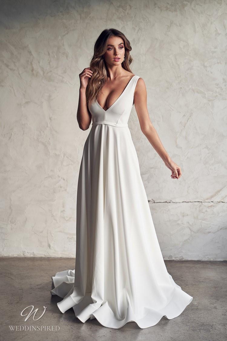 An Anna Campbell 2020 v neck A-line white wedding dress