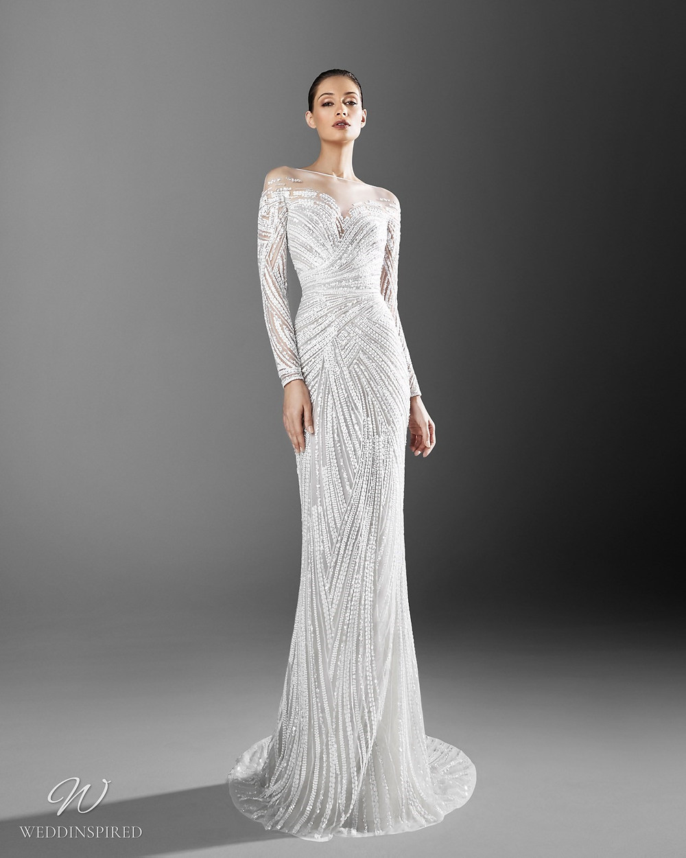 A Zuhair Murad mermaid wedding dress with crystals and an illusion neckline