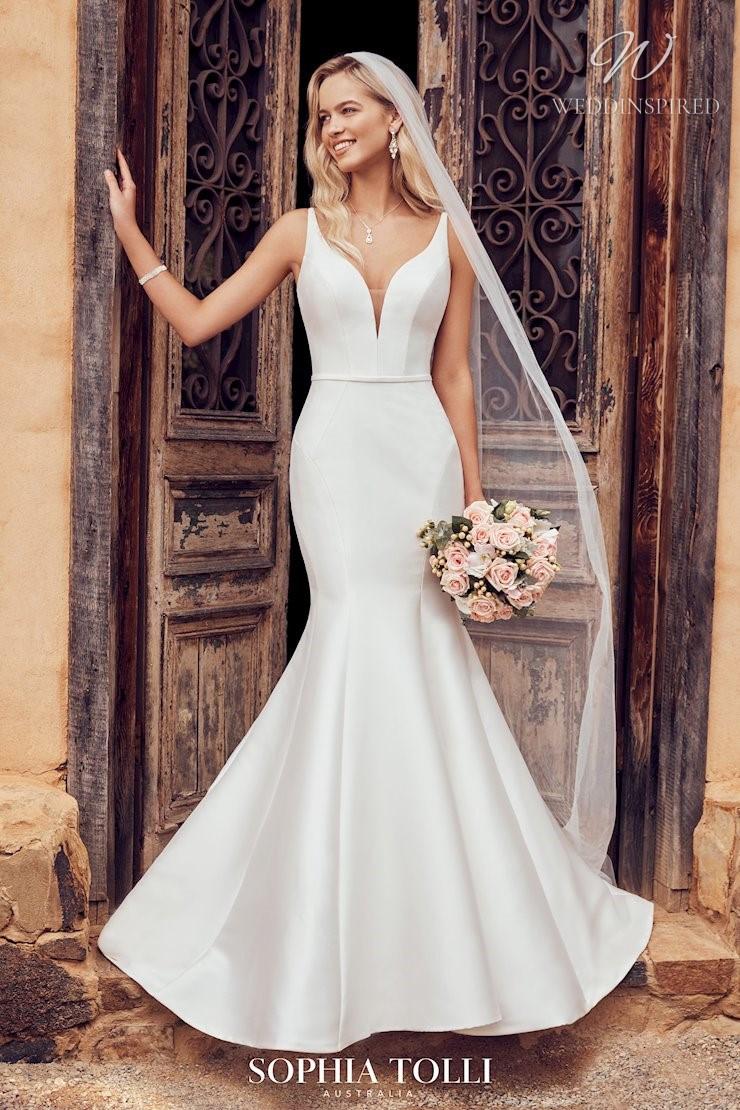 A Sophia Tolli simple mermaid wedding dress