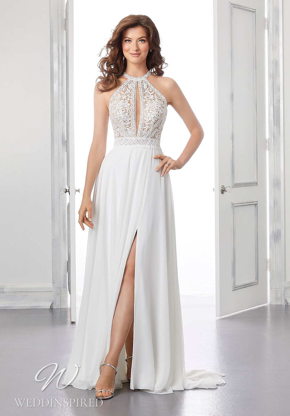 A Madeline Gardner lace and chiffon halterneck A-line wedding dress