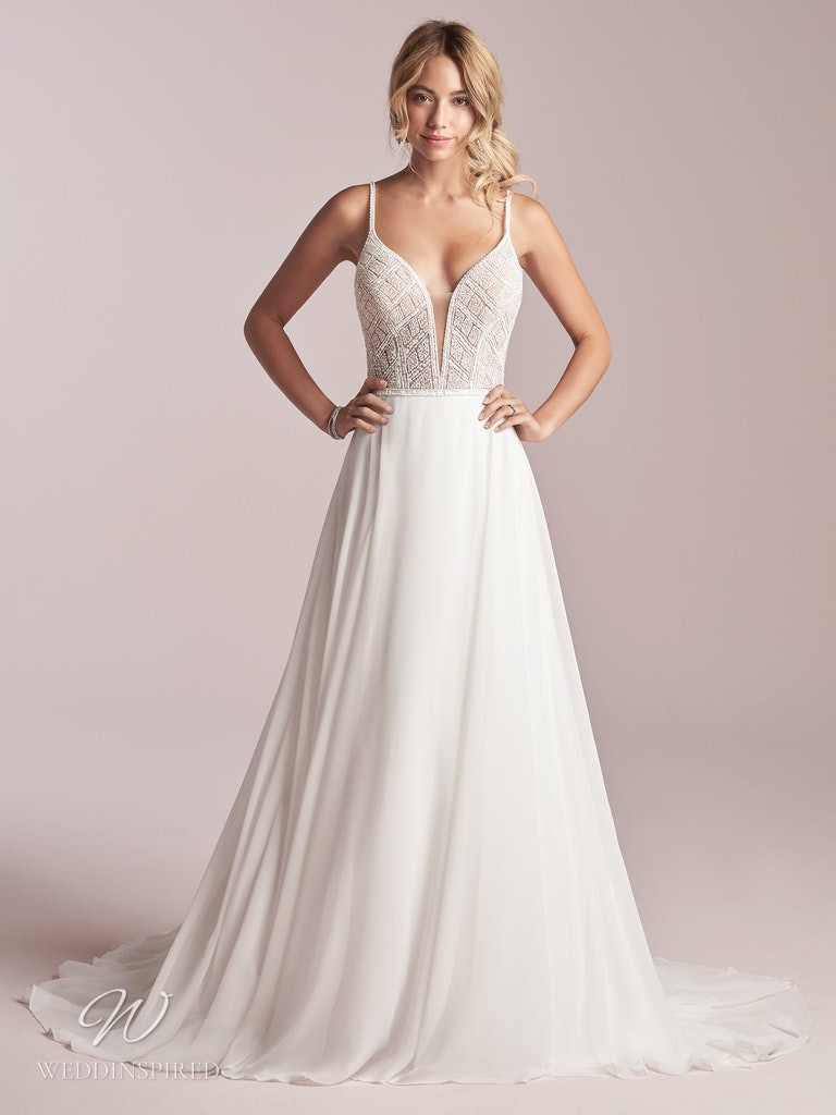A Rebecca Ingram 2020 crepe A-line wedding dress with beading and straps