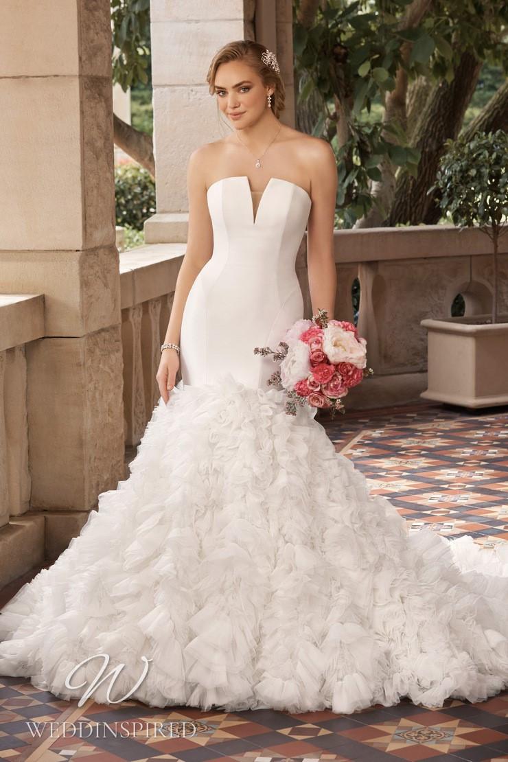 A Sophia Tolli 2021 strapless satin and tulle mermaid wedding dress