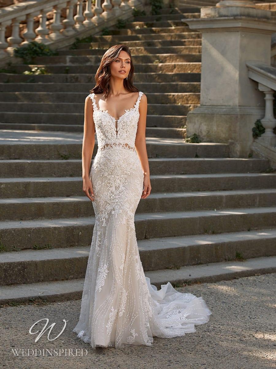 A Pronovias Privée 2021 lace mermaid wedding dress with straps