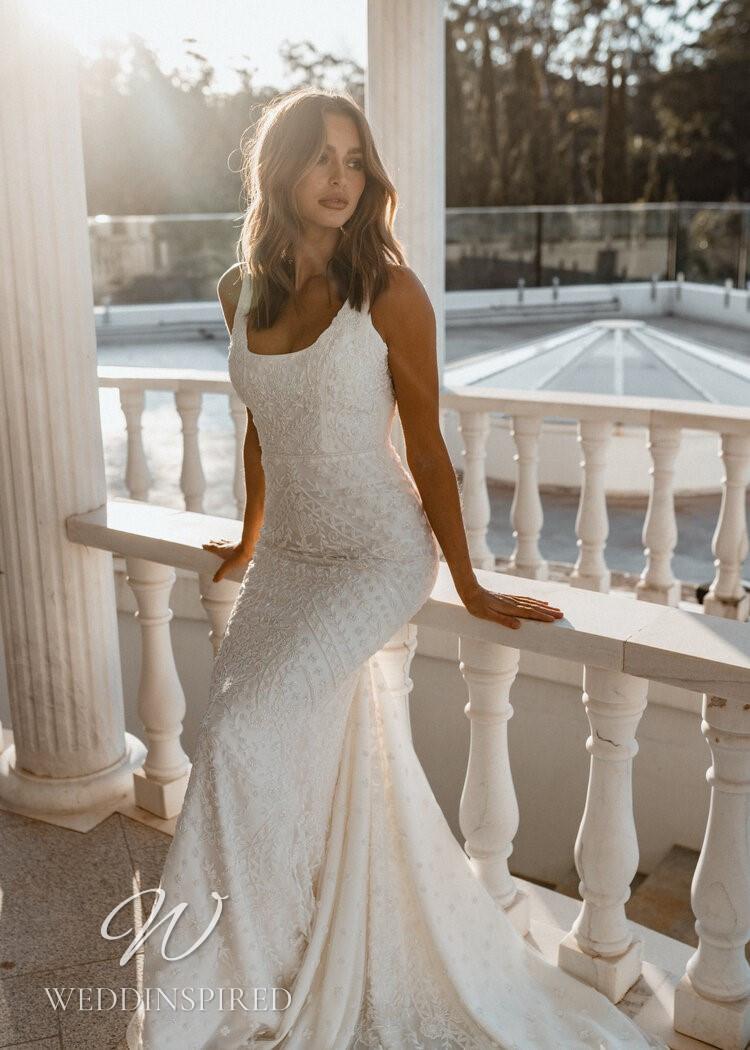 An Anna Campbell 2021 lace mermaid wedding dress