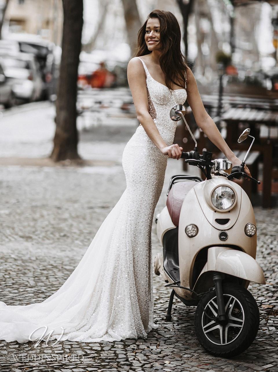 A Galia Lahav 2022 sparkly mermaid wedding dress with straps