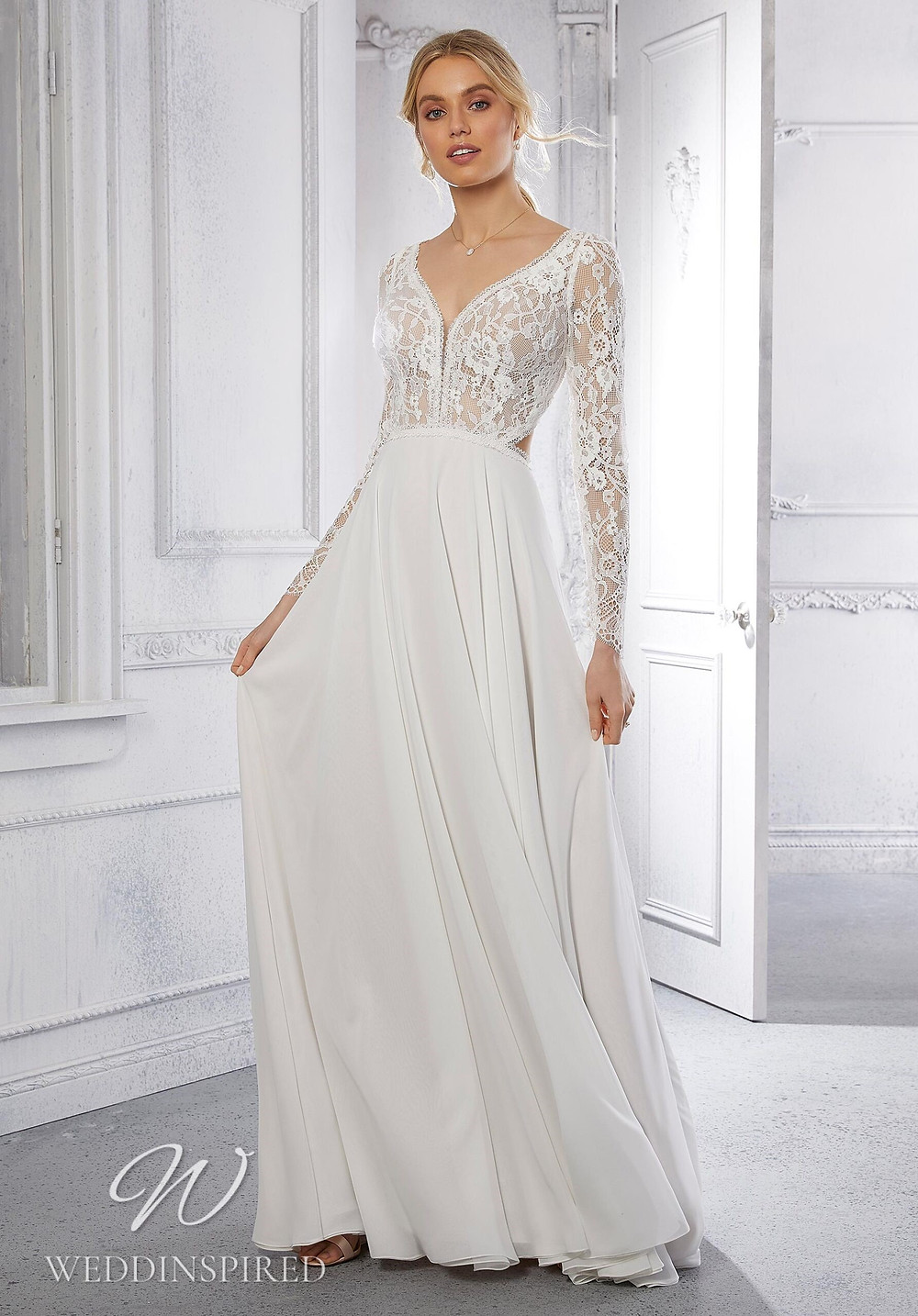 A Madeline Gardner lace and chiffon A-line wedding dress with long sleeves