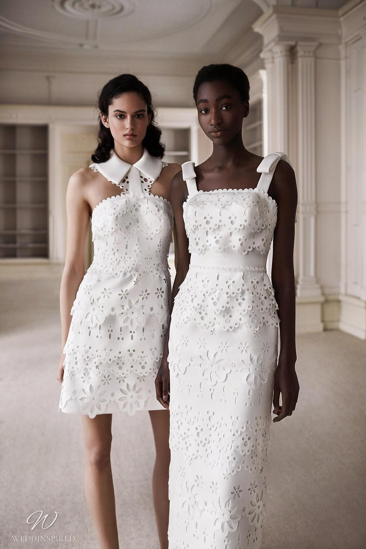 A Viktor & Rolf 2021 lace column wedding dress and a short lace wedding dress