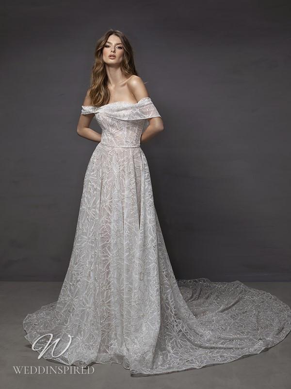 A Riki Dalal 2021 off the shoulder lace A-line wedding dress