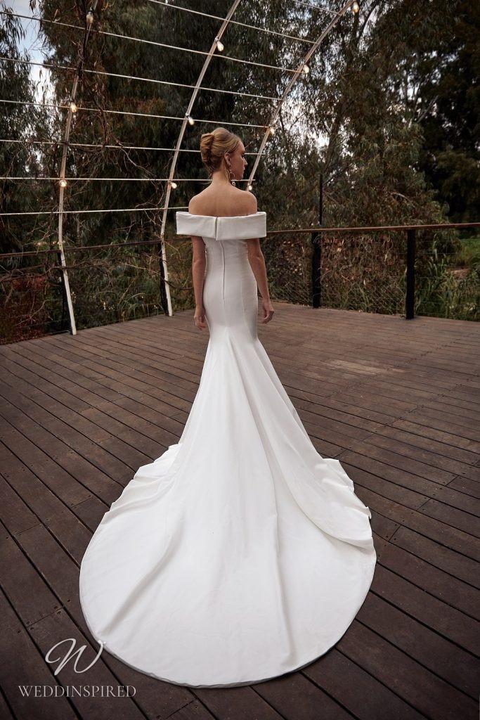 A Julie Vino 2021 off the shoulder simple silk mermaid wedding dress