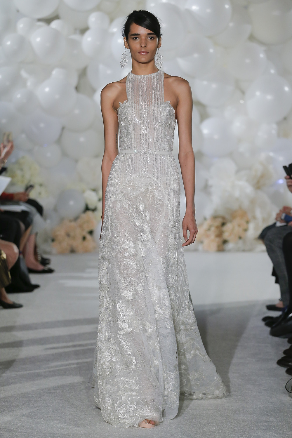 A Mira Zwillinger lace halterneck A-line wedding dress